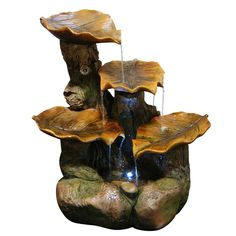 Tiered Leaf Fountain With White LED Lights