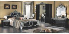 Barocco hálószoba garnitúra 4-ajtós szekrénnyel, 160x200-as ággyal, fekete-ezüst színben (CA-BAR-4-16-NA1)