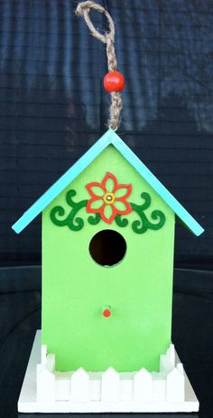 Green and Blue Birdhouse with Orange Flower by BecsBirdhouses, $20.00