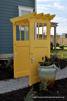 Creative Repurposed Old Door Ideas & Projects For Your Backyard Brightly Painted Doors Make a Pergola Backyard Pergola, Backyard Landscaping, Pergola Kits, Backyard Ideas, Back Yard Ideas Diy, Vinyl Pergola, Luxury Landscaping, Metal Pergola, Landscaping Design