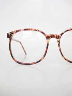 Vintage 1980s Oversized Eyeglasses Glasses Womens Mens Unisex Indie Hipster Chic Geeky Nerdy Deadstock NOS New Old Stock Amber Tortoiseshell