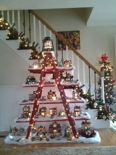 A mini Christmas village in your home! Here are 15 ideas to inspire you . A mini Christmas village. Do you like to decorate during the Christmas season? You will love this post without fail! Check out these 15 mini Christmas villages that will make . Christmas Tree Jar, Best Christmas Lights, Unique Christmas Trees, Christmas Village Display, Decorating With Christmas Lights, Christmas Villages, Christmas Home, Christmas Tree Decorations, Christmas Holidays