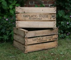 VintageRus tic FRENCH Wooden Apple Crates, ideal storage boxes box display crate by WineBoxesEtc on Etsy https://www.etsy.com/listing/203039726/vintagerus-tic-french-wooden-apple