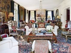 """Ralph Lauren's manor house in Bedford, New York is a gentlemanly yet chic spot-- """"It's a combination of 'hunting lodge' and stately home,"""" says Lauren."""