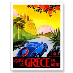 Visitez La Grece En Auto ~ Vintage Greece Travel Postcard by TheVintageVamp Greece Art, Travel Ads, Car Travel, Retro Poster, Europe, Design Poster, Graphic Design, Canvas Prints, Art Prints