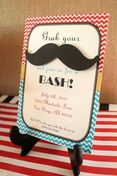 Invitation for mustache bash birthday party #invitation #mustache #party