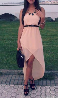 Peach Stylish Maxi Dress