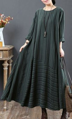 vintage green pure linen dresses Loose fitting linen clothing dresses o neck big hem vintage patchwork autumn dress Muslim Dress, Hijab Dress, Dress Outfits, Casual Dresses, Hijab Outfit, Muslim Fashion, Hijab Fashion, Fashion Dresses, Modele Hijab