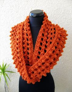 Circle Infinity Orange Scarf:- 32 Super Easy Crochet Infinity Scarf ideas | DIY to Make