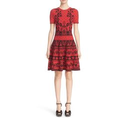 Alexander McQueen Floral Jacquard Knit Fit & Flare Dress (130,555 INR) ❤ liked on Polyvore featuring dresses, red floral dress, red dress, short sleeve dress, striped knit dress and red striped dress