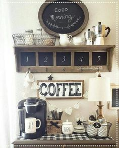 Ready to set up a coffee station (coffee bar) in your kitchen or anywhere in your home? Looking for simple and beautiful farmhouse coffee bar ideas to spark your creativity and imagination? Coffee Bars In Kitchen, Coffee Bar Home, Home Coffee Stations, Coffe Bar, Coffee Bar Design, Coffee Nook, Coffee Coffee, Morning Coffee, Coffee Maker