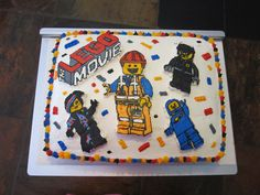 lego movie cake - all butter cream, characters are  frozen buttercream transfer