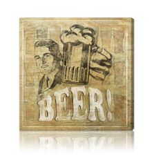 Oliver Gal 'Hatcher and Ethan Beer' Graphic Art Print on Wrapped Canvas Size: H x W x D Canvas Art Prints, Painting Prints, Canvas Wall Art, Paintings, Oliver Gal, Beer Poster, Beer Art, Thing 1, Rustic Art