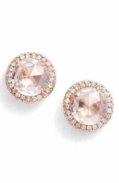 Women's Kate Spade New York Bright Ideas Pavé Halo Stud Earrings - Ohringe Ideen Ruby Jewelry, Rose Gold Jewelry, Rose Gold Earrings, Crystal Earrings, Gemstone Jewelry, Diamond Earrings, Fine Jewelry, Unique Jewelry, Jewelry Ideas
