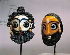 Tunisia, Carthage, Glass paste punic masks Title: De Agostini Picture Library / G. Dagli Orti Credit: 3rd Century B.C., Tunisia, Carthage, Musee National De Carthage (Archaeological Museum), Phoenician art  Artwork-location: Carthage, Musée National De Carthage (Archaeological Museum) Description: (03rd-)   Keywords: