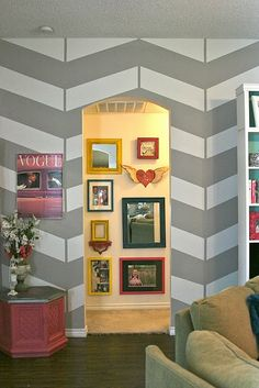 Chevron Wall w/ gallery wall arch  this is awesome!!
