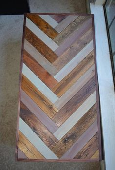 reclaimed wood coffee table chevron pattern by HandMadeBySaya Woodworking Projects That Sell, Diy Woodworking, Chevron Table, Chevron Dresser, Project Table, Reclaimed Wood Coffee Table, Diy Table, Wood Table, Wooden Diy