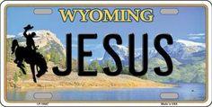 Jesus Wyoming Background Novelty Metal License Plate
