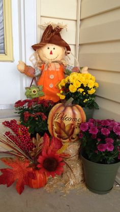 Fall decor at my front entrance