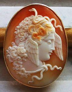 Medusa, Cameo of Cornelian shell, ca 1870, Italy.