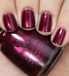 """""""Red-y & Willing"""" is a darkened shimmering red with slight pink undertones."""