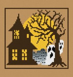 House ghosts cross stitch pattern.