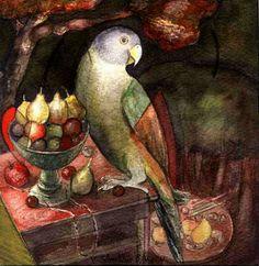 "Victor Shmokhin. ""Попугай у вазы с фруктами"" Бумага/акварель  18,8х18,4  1990.г.  (№ 361)."