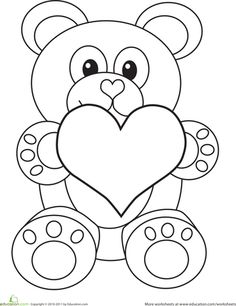 Valentines Day Bear Coloring Page