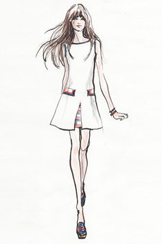 fashion illustration style i like- Zooey Deschanel's Tommy Hilfiger Line Is All '60s, All Dresses (Naturally) #refinery29 -