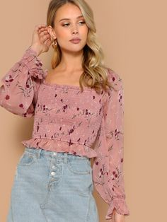 8c87f88460081 Square Neck Puff Sleeve Floral Smocked Blouse
