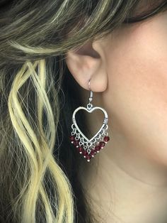 Handmade Chandelier Heart Earrings Antique silver tone heart Cherry red glass crystals (4mm) Fish hook backing