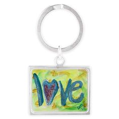 Love Word Fresh Spring Keychain - The word love is painted in bright blue letters like a Spring morning sky. Soft and fresh yellows and greens swirl in the background like daffodils after the winter snows.