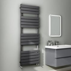 1600x600mm Anthracite Flat Panel Ladder Towel Radiator - Francis Range