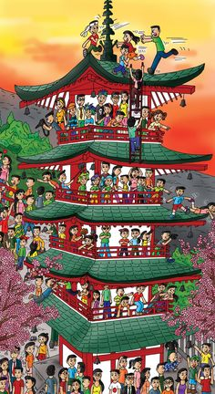 This building took me forever... but it's done. Yay! Japan!  #Japan #Japanesebuilding #Japancartoon #Childrensbooks #Kidsbooks #Japanesechildren