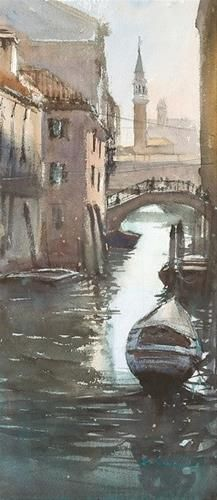"""San Giorgio, Venice I, Italian Landscape Painting"" - Original Fine Art for Sale - © Keiko Tanabe,http://ktanabefineart.com/."
