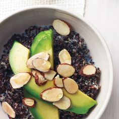Black quinoa (like red) has a firmer texture than the white variety, and makes a great alternative to breakfast cereal. Soft avocado provides a great contrast.