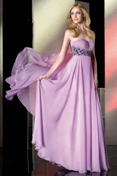 Fashion Color Beading Empire Lavender Prom Dress