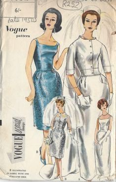 1960s-Vintage-VOGUE-Sewing-Pattern-B36-WEDDING-DRESS-TRAIN-JACKET-R252-251161679519
