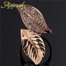 Ajojewel Brand Aliancas De Casamento Em Ouro Elegant Crystal Rhinestone Women Golden Ring Leaf