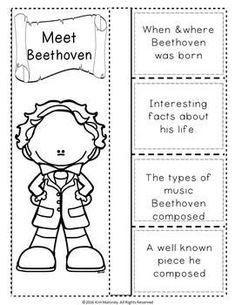 BEETHOVEN and HIS MUSIC FOLDABLES   This file contains TWO different FOLDABLES in BOTH COLOR AND B/W.   #musiceducation   #musiced   #musedchat
