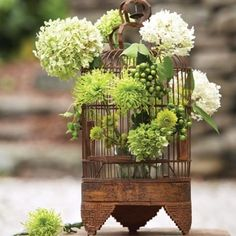 """What a great idea to make a bird cage the floral """"vase"""".and I'm so partial to all this old and green and white floral arrangements. Flower Decorations, Wedding Decorations, Yard Decorations, Wedding Centerpieces, Wedding Ideas, Wedding Reception, Wedding Favors, Bird Cage Centerpiece, Green Centerpieces"""