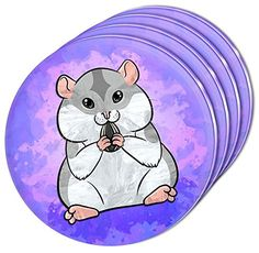 Custom  Cool 4 Inches Set Pack of 4 Round Circle Flat  Smooth Texture Drink Cup Coasters Made of Acrylic w Cute Chubby Hamster Eating Sunflower Seed Design Colorful Purple Gray  Pink *** To view further for this item, visit the image link.