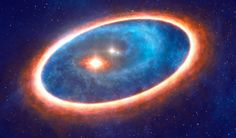 This artist's impression shows the dust and gas around the binary star system GG Tauri-A. Description from sci-news.com. I searched for this on bing.com/images