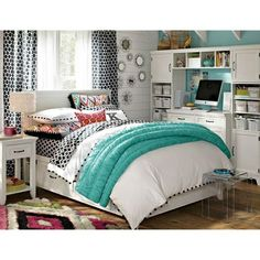 Elegant Image Detail For  Young Girls Bedroom Design With White And Blue Bedding