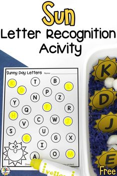 Are your kids working on learning the ABC's this summer? This Sun Letter Recognition Activity is an entertaining and engaging way for them to practicing identifying letters as they develop their fine motor skills too. This alphabet activity includes capital and lowercase letter suns and 3 different letter recording sheets. Click on the picture to get your free letter recognition printables for preschoolers or kindergartners! #letterrecognition #sensorybin #sensoryactivity #finemotorskills