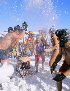 Carnaval de Québec, Canada (Quebec Winter Carnival) Snow Bath with Bonhomme on the plains of Abraham
