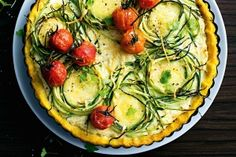 Zucchini and polenta tart