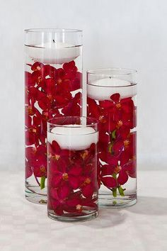 best ideas for wedding table red white candle centerpieces Blue Centerpieces, Candle Wedding Centerpieces, Centerpiece Ideas, Wedding Decorations, Candle Arrangements, Wedding Arrangements, Floating Flowers, Floating Candles, Submerged Flowers