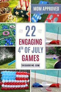 These of July games are guaranteed to be entertaining! From glow-in-the-dark ring toss to balloon dart there is something for everyone! 4th Of July Outdoor Games, 4th Of July Games, Outdoor Games For Kids, Outdoor Play, Cookout Games, Backyard Party Games, Kids Party Games, Outside Activities For Kids, Outside Games