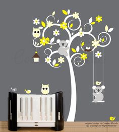 Wall sticker white tree wall decal with grey and by couturedecals